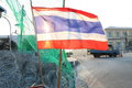 Thailand flag in protest area Stock Photography