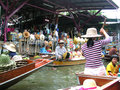 Thailand floating market in the river folk life and the charm that tourist love Royalty Free Stock Photos