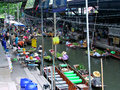 Thailand floating market view from the bridge of Royalty Free Stock Photo