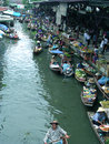 Thailand floating market view from the bridge of Stock Images