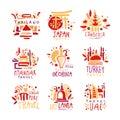 Thailand, Japan, Cambodia, Myanmar, Georgia, Singapore, Turkey, Sri Lanka set of colorful promo signs. Summer travel