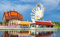 Thailand landmark in koh samui shiva sculpture and buddhist tample Royalty Free Stock Image
