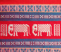 Thailand local cotton stripe textiles and elephant form and flower detail Stock Image