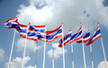 Thailand National flags over sky Stock Images