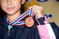 Thailand open karate do championship bangkok sep medal for the winner female fighters during of on nimibutr national Stock Images