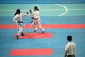 Thailand open karate do championship bangkok september female fighter between participants of on nimibutr national indoor Stock Photo
