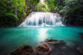 Thailand outdoor photography of waterfall in rain jungle forest. Royalty Free Stock Photo