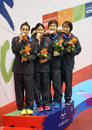 Thailand s women s x m freestyle team with gold medal incheon july in an asian indoor and martial arts games at dowon aquatics Stock Image