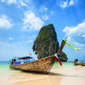 Thailand sea landscape nature background travel boat sand blue sky clear ocean water Royalty Free Stock Image