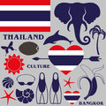 Thailand set isolated objects vector illustration eps Stock Images