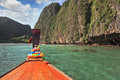 Thailand sightseeing boat sails in the bay Royalty Free Stock Photography