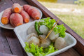 Thailand snacks sago add pork in the white dish Stock Photography