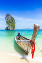 Thailand summer travel sea, Thai old wood boat at sea beach Krabi Phi Phi Island Phuket. Royalty Free Stock Photo