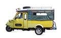Thailand symbol tourist taxi vehicle car tuk tuk isolated on whi Royalty Free Stock Photo