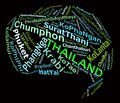 Thailand tourist destinations info text graphics arrangement concept word clouds black background Royalty Free Stock Image