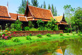 Thailand traditional house with blue sky Royalty Free Stock Photography
