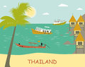 Thailand tropical beach with boats Stock Photo