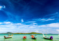 Thailand tropical beach exotic landscape with wooden boats Stock Photography