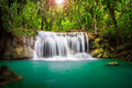 Thailand waterfall in Kanjanaburi Royalty Free Stock Image