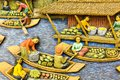 Thailand wood carving boats on river Royalty Free Stock Photos