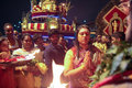 Thaipusam female devotee in blessing ceremony Stock Images