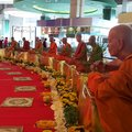 Thais monks wax stutures of the most respected for people Royalty Free Stock Images
