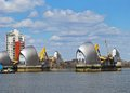The thames barrier london across river river flood england uk western europe Royalty Free Stock Photography