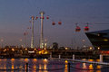 Thames cable car night scene in london uk Royalty Free Stock Images