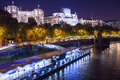 Thames and embankment london uk october view of the victoria in seen at night with the pier in view Royalty Free Stock Photos