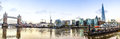 Thames panorama a panoramic view of the with tower bridge Stock Images