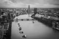 Thames river, Central London, top view Royalty Free Stock Photo