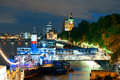 Thames river night london uk sep view with ship on september in london uk london is the world s most visited city and the capital Royalty Free Stock Image