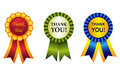 Thank you award ribbon rosette elegant shiny rosettes with than note inside great graphics to make thankgiving cards Stock Photo