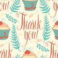 Thank you background with cupcake calligraphy and arrows ferns Royalty Free Stock Images