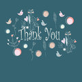 Thank you background with cute flowers hearts and birds in cartoon style Stock Photography