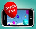Thank You Balloons Message As Thanks Sent On Mobile Royalty Free Stock Photo
