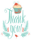 Thank you card with cupcake calligraphy and hand design drawing Stock Photo