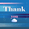 Thank you card with font graphics thanks to a on a blue background Stock Photos