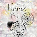 Thank you card graphics with the words on watercolor background of crumpled paper Royalty Free Stock Photography