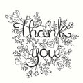 Thank you card. Hand drawn lettering design. Greeting card with flowers. Line art style. Vector illustration. Royalty Free Stock Photo