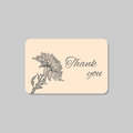 Thank you card with hawaii hibiscus flower. Vintage grunge marriage design template, floral artwork. Vector illustration Royalty Free Stock Photo