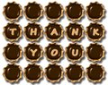 Thank you chocolate a group of praline with text on them Royalty Free Stock Photos