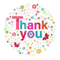Thank you circle greeting card with colorful flowers Royalty Free Stock Photo