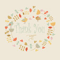 Thank you greeting card with cute flowers and birds in cartoon style Stock Photo