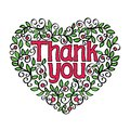 Thank you hand lettering in shape of heart calligraphy vector illustration Royalty Free Stock Image