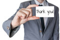Thank you held in hand businessman holding or showing card with text Stock Photography