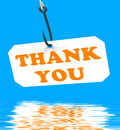 Thank You On Hook Displays Gratefulness And Gratitude Royalty Free Stock Photo