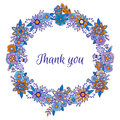 Thank you lettering postcard with blue floral ornament wreath frame. Vector circle decoration. Flowers and herbs doodle elemen