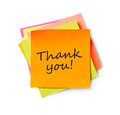 Thank you message on adhesive note white background Stock Images