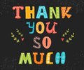 Thank you so much postcard. Cute greeting card Royalty Free Stock Photo